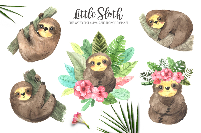 watercolor-sloth-and-tropic-florals