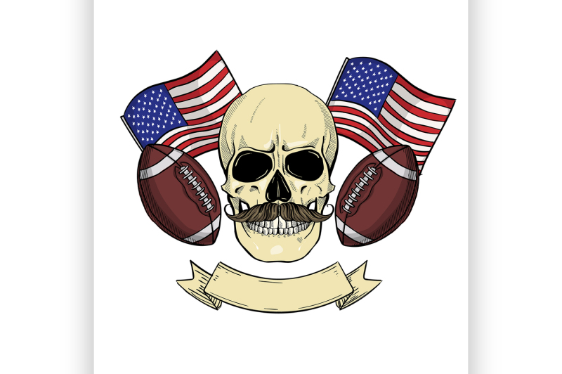 sketch-color-skull-american-football