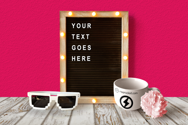 Free Letter Board and Mug | Mock Up (PSD Mockups)