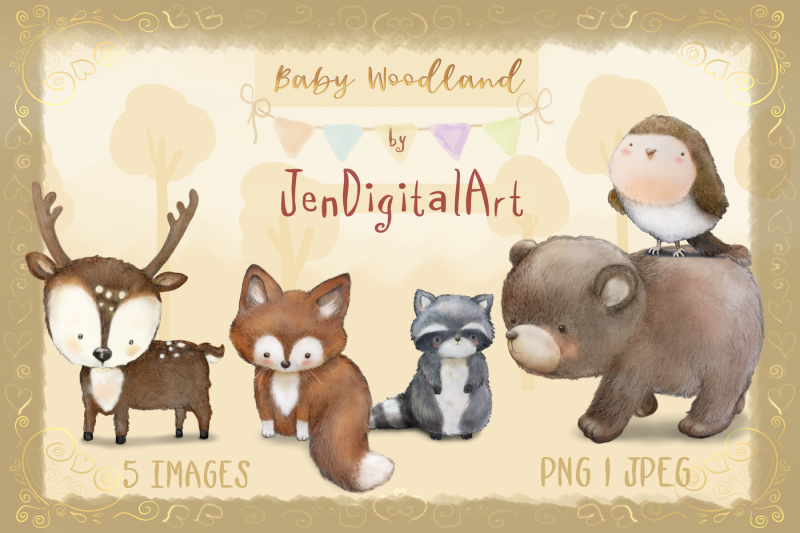 baby-woodland-5-animal-illustrations-png-jpeg-clip-art