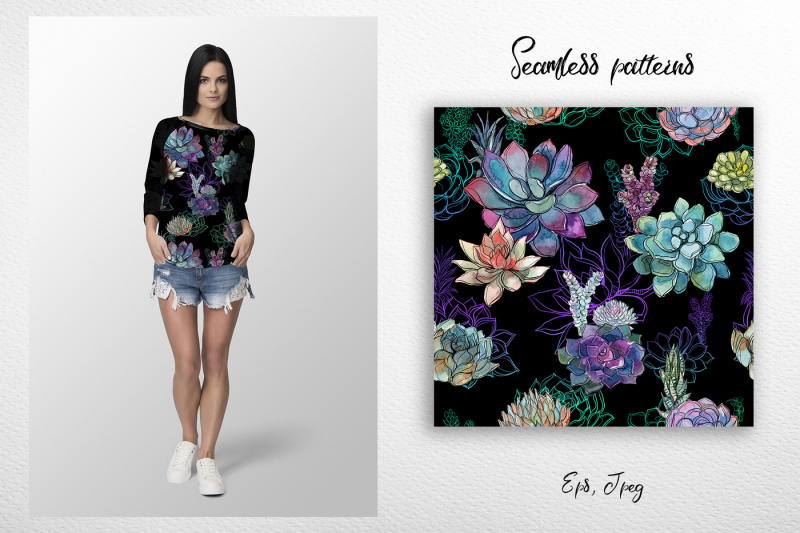 watercolor-patterns-with-succulents