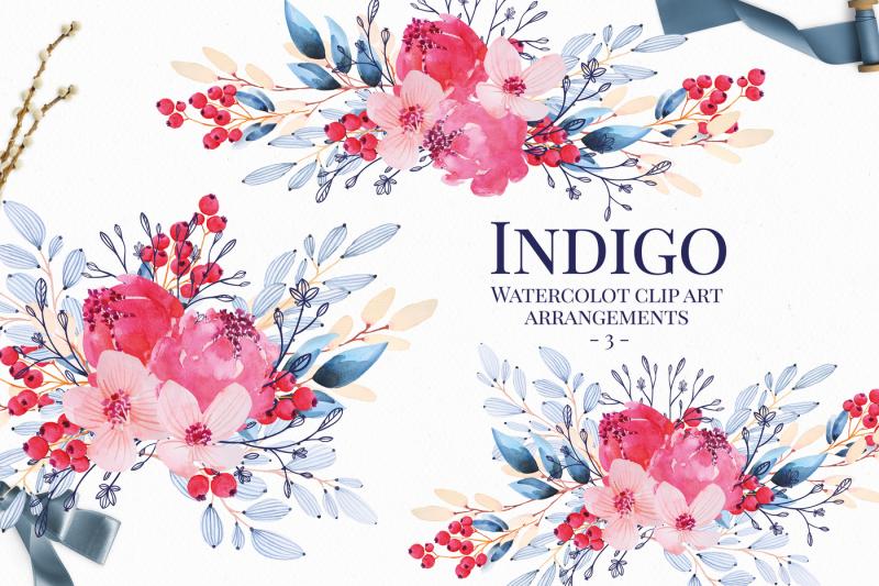 indigo-and-pink-floral-watercolor-clip-art