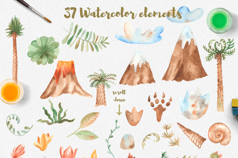 dinosaurs-watercolor-collection