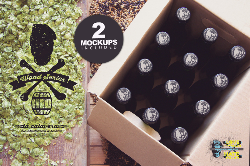 Free Beer Box & Caps Duo | Logo (PSD Mockups)