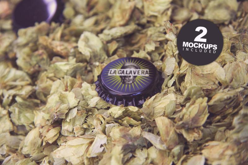 Free Dry Hop Beer Cap Duo (PSD Mockups)