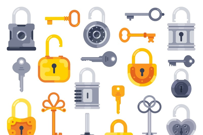 lock-with-keys-golden-key-access-padlock-and-closed-safe-padlocks-is