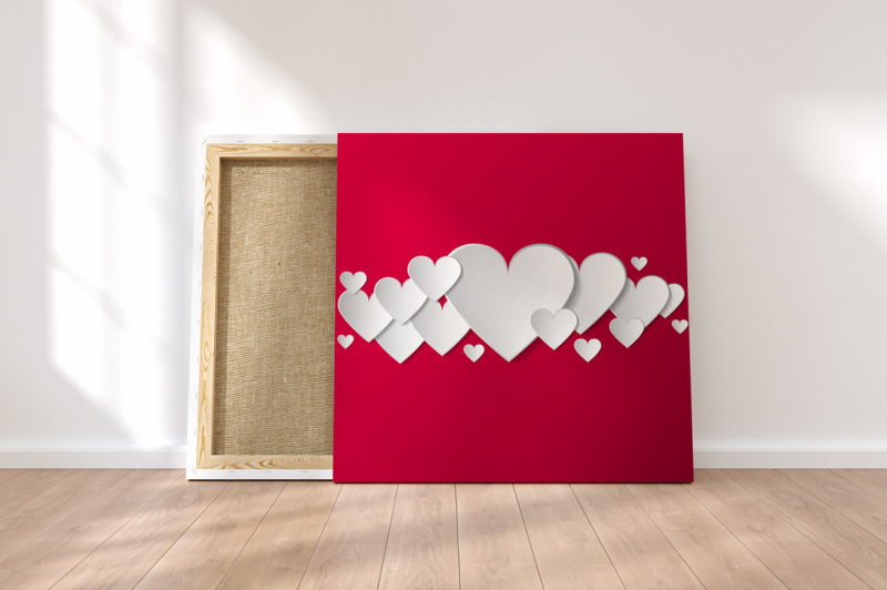 vector-cards-with-3d-paper-hearts