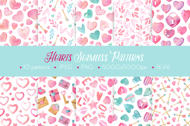 watercolor-hearts-seamless-patterns