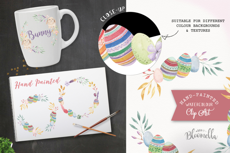easter-watercolor-hand-painted-easter-eggs-bunny-flower-garlands