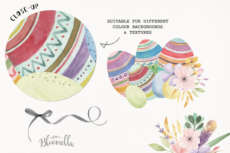 easter-eggs-watercolor-floral-flowers-ribbons-rabbits-bunny-flowers