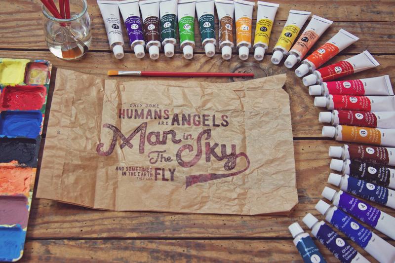 Free Crumpled Paper Bag Paint Scene (PSD Mockups)