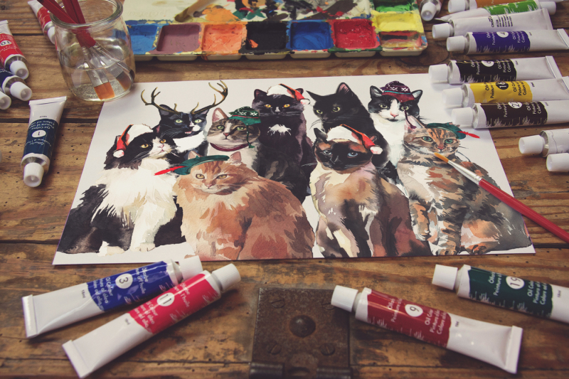 Free Paper Paint Scene (PSD Mockups)