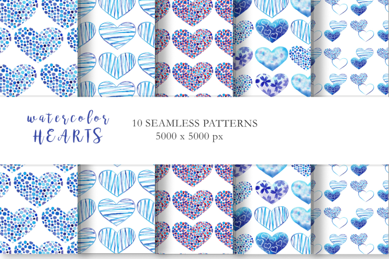 watercolor-blue-hearts-collection