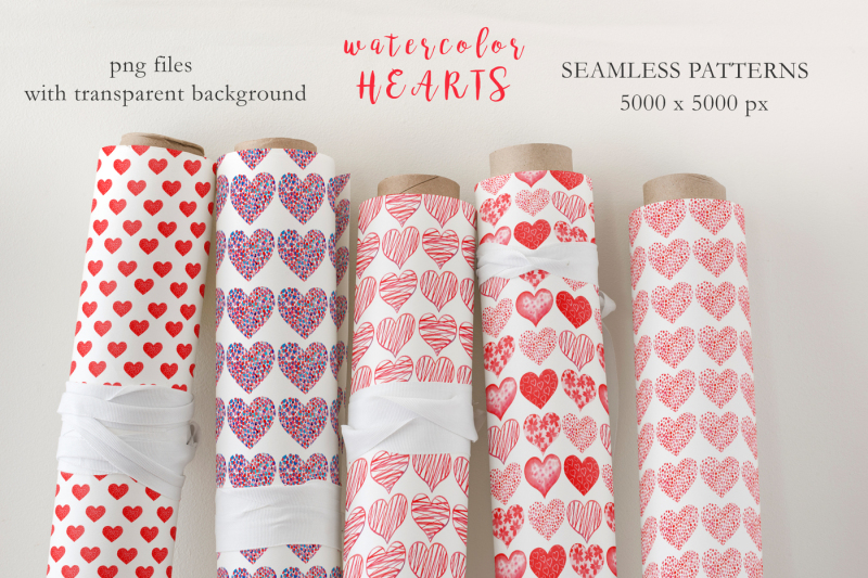 watercolor-red-hearts-collection