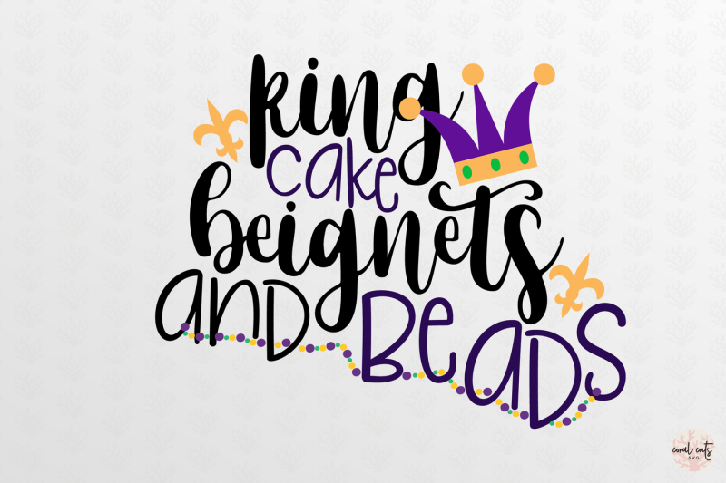 King Cake And Beads Mardi Gras Svg Eps Dxf Png By Coralcuts