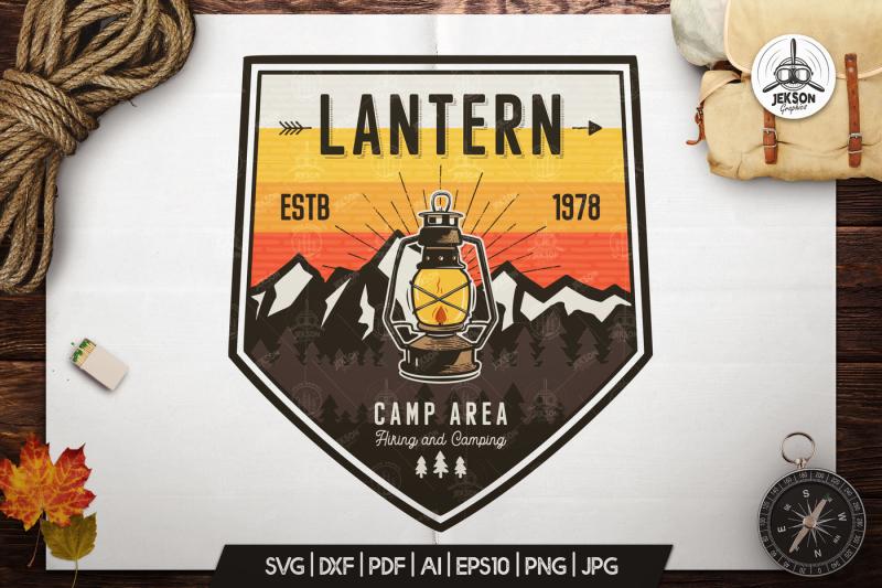 camp-lantern-badge-vintage-travel-logo-patch-svg