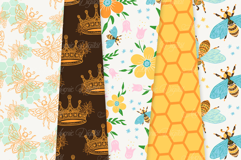 bright-bee-garden-seamless-vector-patterns-and-digital-papers