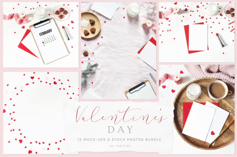 Free Valentine's day mockups & styled stock photos bundle (PSD Mockups)