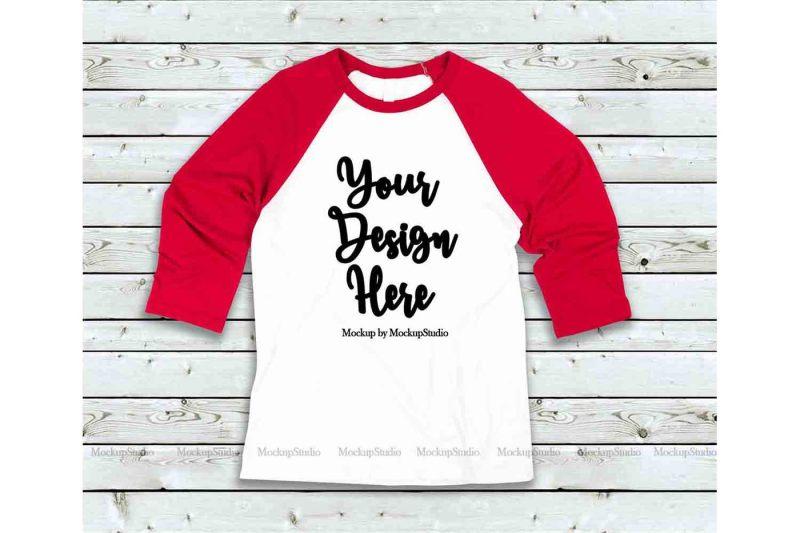 Free Red White Raglan Mockup, Baseball Shirt Mock Up Bella Canvas 3200 (PSD Mockups)