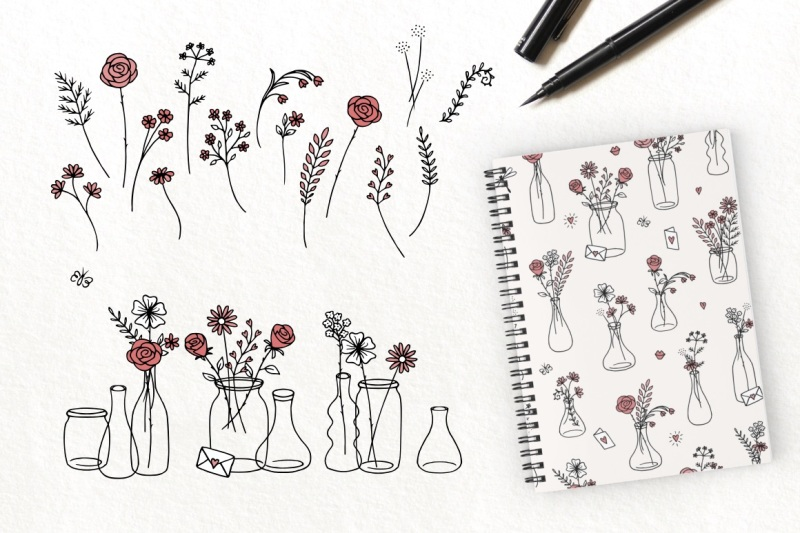 love-hand-drawn-flower-collection