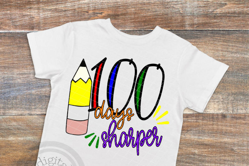 100-days-sharper-svg-t-shirt-design-100th-day-of-school-svg-cut-file