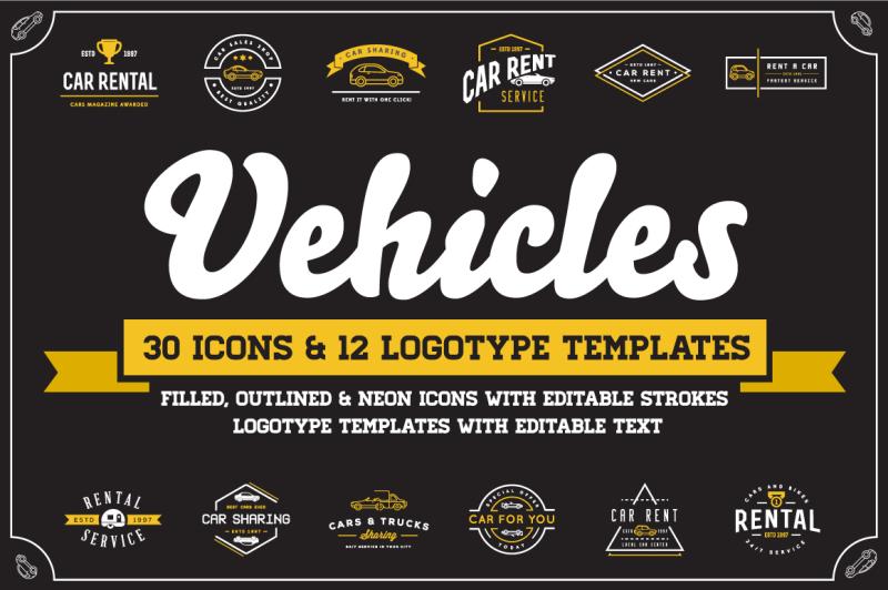 Скачать [Thehungryjpeg] Awesome Vehicles Icons and Logo Set (2019), Отзывы Складчик » Архив Складчин