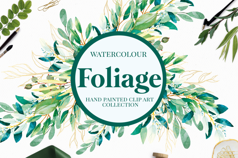 foliage-watercolour-greenery-leaves