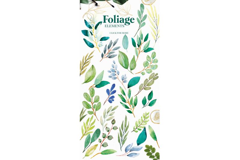 foliage-watercolour-greenery-leaves