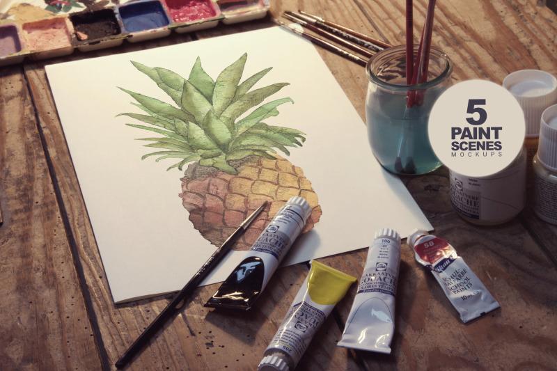Free Paint Scenes x5 (PSD Mockups)