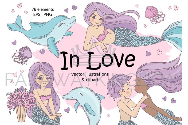 mermaid-in-love-tropical-travel-summer-vector-illustration-set