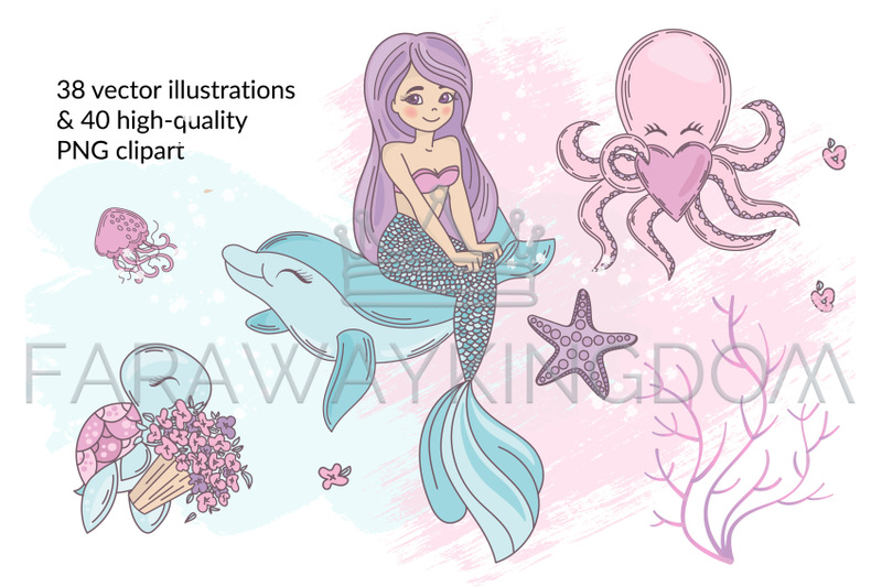 Mermaid In Love Tropical Travel Summer Vector Illustration Set By