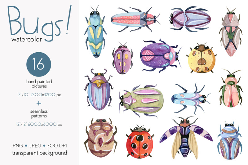 watercolor-bugs-insects-collection