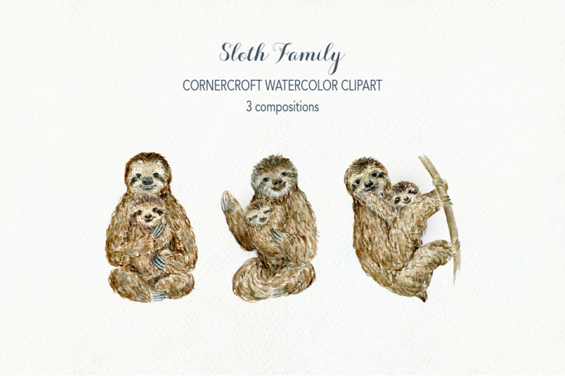 watercolor-clipart-sloth-family-for-instant-download