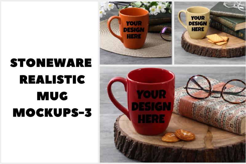 Free Realistic Stoneware Mug Mockups - 3 (PSD Mockups)