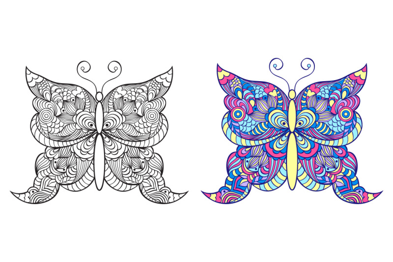 Floral Butterflies Coloring Pages By Warmjuly Thehungryjpeg Com