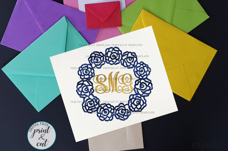 flowers-laurel-wreath-monogram-frame-for-name-paper-vinyl-cut-template