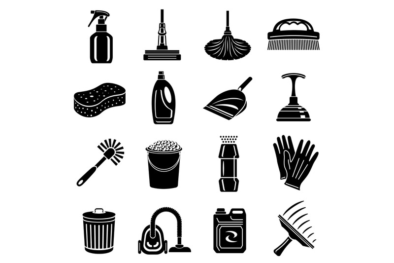 cleaning-icons-set-simple-style