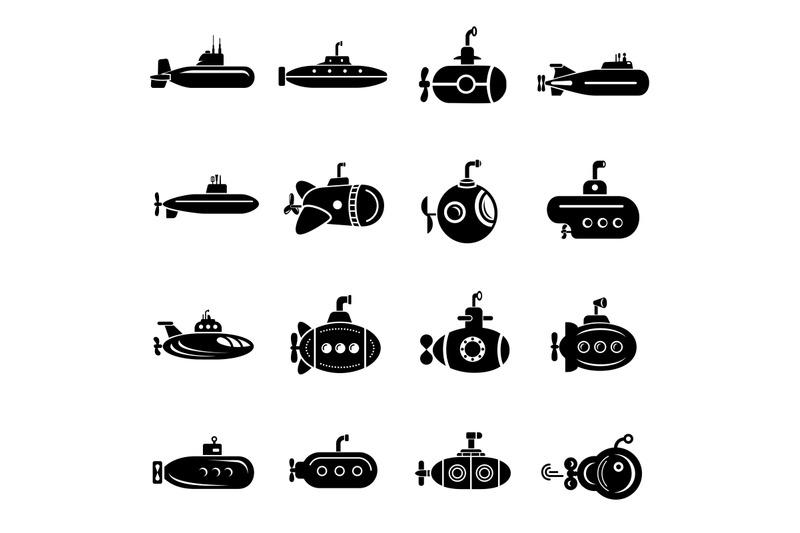 submarine-icons-set-simple-style