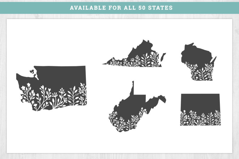 Bundle 50 Floral States Svg Cut Files By Brandi Lea Designs