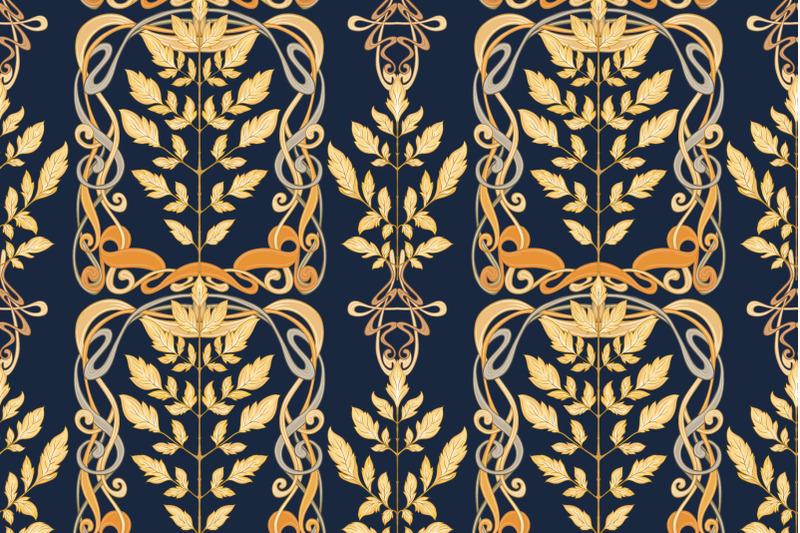 art-nouveau-autumn-leaves-pattern