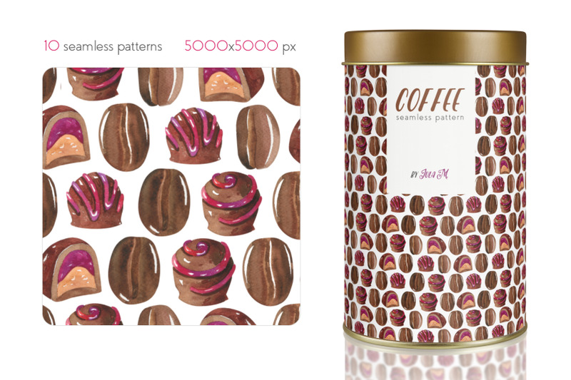 coffee-watercolor-hand-painted-seamless-patterns
