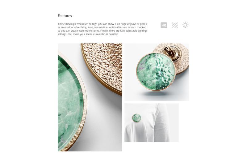Round Enamel Pin Mockups Set By rebrandy   TheHungryJPEG com