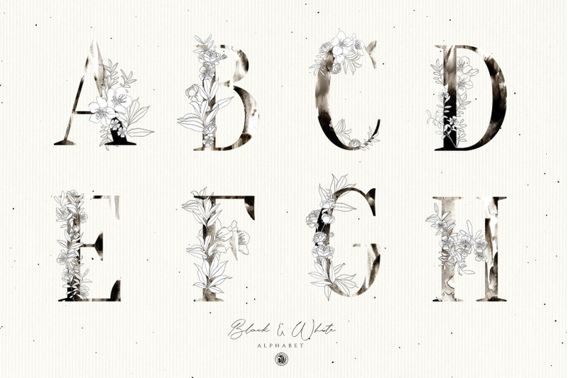 black-and-white-floral-alphabet