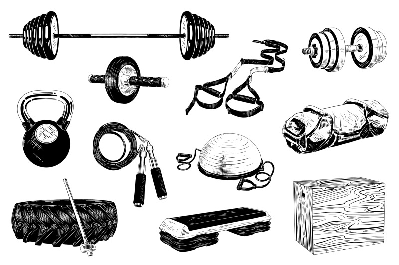 gym-equipment-hand-drawn-sketches