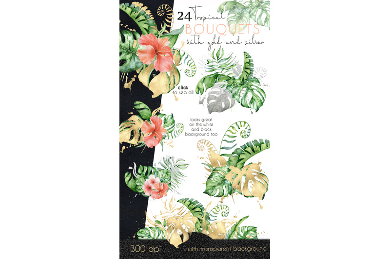 24-tropical-bouquets-watercolor