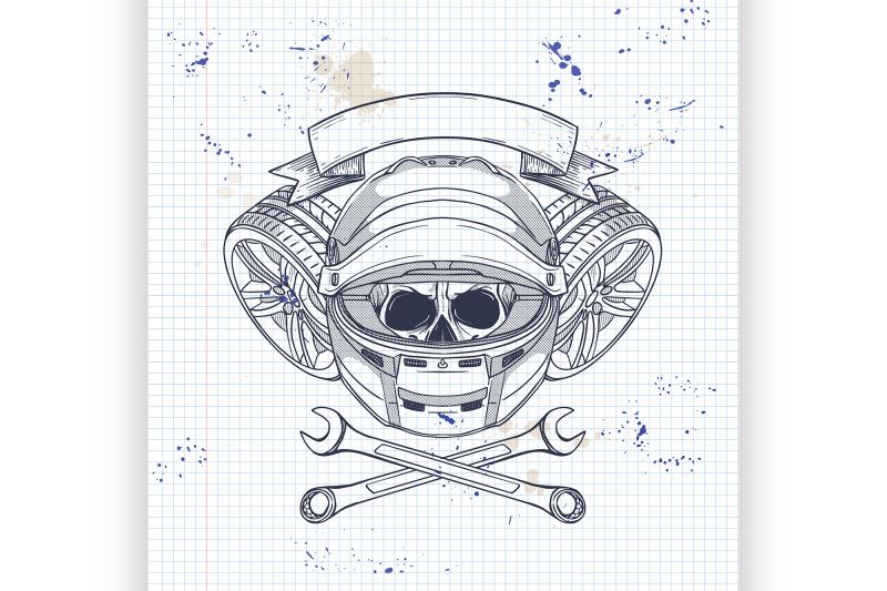 racer-skull-with-helmet