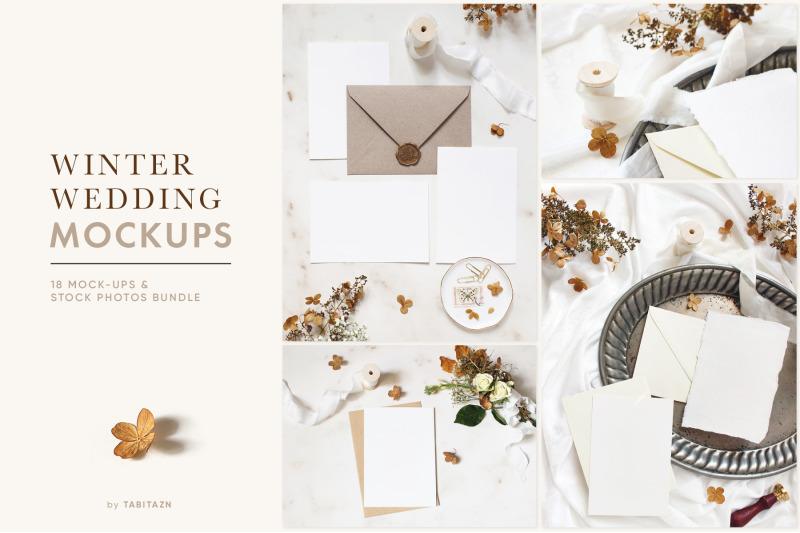 Free Winter wedding mockups & stock photo bundle (PSD Mockups)