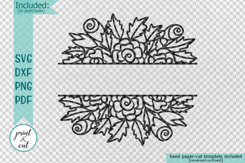 Wedding Floral Split Monogram Hand Drawn Simple Flowers Svg Dxf
