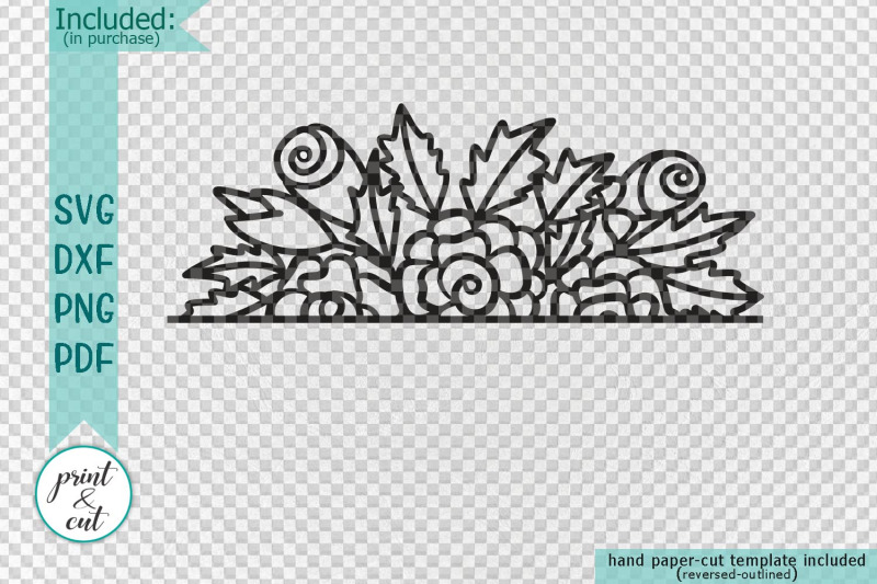 Hand Drawn Simple Floral Border Papercutting Lasercutting Template