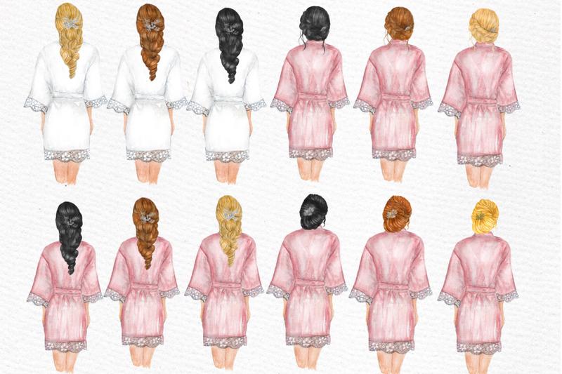 bridesmaid-wedding-robes-clipart